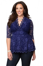 Womens V-Neck 3/4 Length Sleeve Plus Size Lace Blouse Sapphire Blue