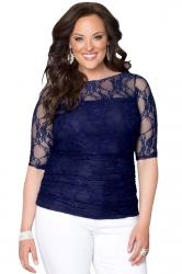 Womens Chic Crewneck Half Sleeve Plus Size Lace Blouse Sapphire Blue