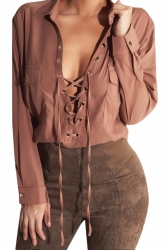 Womens Plain Turndown Collar Lace Up Long Sleeve Chiffon Blouse Brown