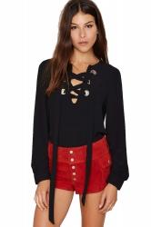 Womens Stylish Plain Long Sleeve V Neck Lace Up Chiffon Blouse Black