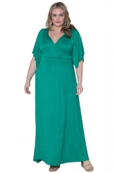 Womens Sexy Plain V Neck Short Sleeve Plus Size Dress Green