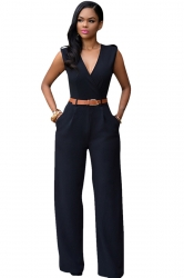 Womens Plain Sleeveless Deep V Neck Belt Jumpsuit Black