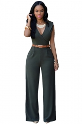 Womens Plain Sleeveless Deep V Neck Belt Jumpsuit Deep Green