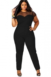 Womens Crew Neck Short Sleeve Sheer Mesh Patchwork Jumpsuit Black