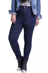 Womens Plus Size High Waist Elastic Denim Leggings Navy Blue