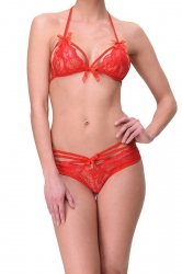 Womens Sexy Bowknot Trim Crochet Floral Bra and Lace Panty Sets Red