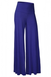 Womens Stylish Plain Wide Leg Palazzo Pants Blue