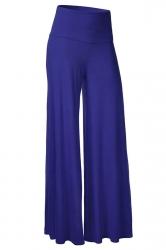 Womens Stylish Plain Wide Leg Palazzo Pants Blue