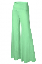Womens Stylish Plain Wide Leg Palazzo Pants Light Green
