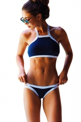 Womens Sexy High Neck Halter Crop Top Bikini Swimwear Navy Blue