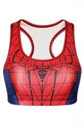 Womens Stylish U Neck Spider-Man Printed Tank Crop Top Red
