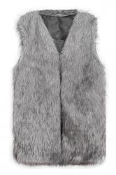 Womens Faux Fur V Neck Sleeveless Vest Coat Gray