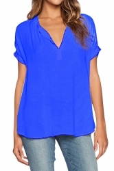 Womens V Neck See Through Short Sleeve Chiffon Blouse Sapphire Blue