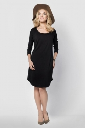 Womens Loose Scoop Neck Long Sleeve Shift Dress Black