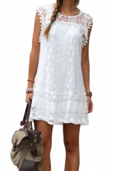 Womens Loose Crew Neck Short Sleeve Lace Clubwear Dress White