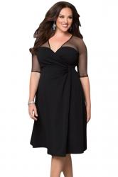 Womens Deep V-Neck Half Sleeve Plus Size Dress Black