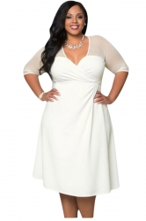 Womens Deep V-Neck Half Sleeve Plus Size Dress White