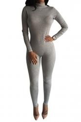 Womens Long Sleeve High Neck Zipper Back Elastic Jumpsuit Light Gray