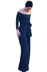 Womens Long Sleeve Off Shoulder Wide Leg Elastic Jumpsuit Navy Blue