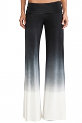 Womens Gradient Elastic Waist Wide Leg Palazzo Pants Black