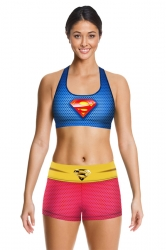 Womens Stylish U Neck Sleeveless Superman Print Sports Suit Rose Red