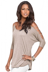 Womens Plain Long Sleeve Off Shoulder Hollow Out String T-shirt Khaki