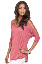 Womens Plain Long Sleeve Off Shoulder Hollow Out String T-shirt Pink