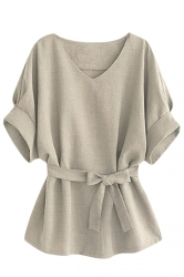 Womens Plus Size V Neck Tunic Short Sleeve Blouse Gray