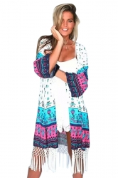 Womens Chic Exotic Printed Long Sleeve Fringed Kimono Turquoise