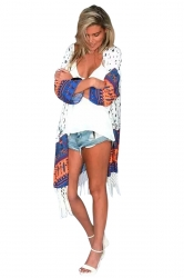 Womens Chic Exotic Printed Long Sleeve Fringed Kimono Navy Blue