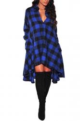 Womens Chic Plaid Irregular Hem Long Sleeve Shirt Dress Blue