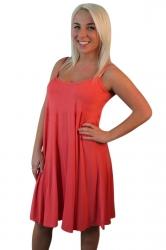 Womens Sexy Plain Spaghetti Straps Skater Dress Orange