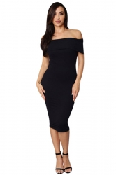 Womens Sexy Boat Neck Plain Midi Bodycon Dress Black