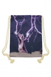 Womens Chic Lightning Cat Printed Drawstring Backpack Black