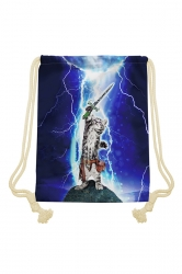 Womens Chic Lightning Cat Printed Drawstring Backpack Sapphire Blue