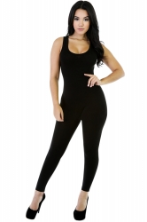 Womens Elastic Plain Sleeveless Tank Jumpsuit Black