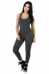 Womens Elastic Plain Sleeveless Tank Jumpsuit Dark Gray