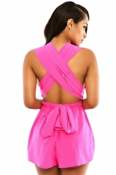Womens Sexy Deep V Neck Sleeveless Cross Bandage Romper Rose Red