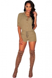Womens Single-breasted Drawstring Waist Romper Khaki