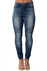 Womens Sexy Bleach Wash High Waisted Jeans Blue