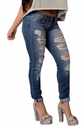 Womens Sexy Bleach Wash High Waisted Ripped Jeans Blue