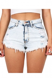 Womens Sexy Bleach Wash Ripped Jeans Shorts Light Blue