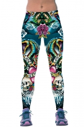 Womens Fitness Floral Skull Printed Sports Leggings Green