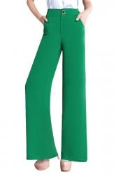 Womens Slimming Plain High Waisted Palazzo Leisure Pants Green