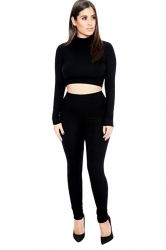 Womens Sexy Plain Long Sleeve Crop Top Sports Pants Set Black
