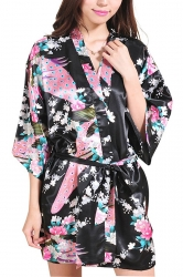 Womens Elegant Peacock Printed Short Sleeve Sash Sleepwear Black