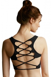 Womens Sexy Plain Lace Up Back Sports Bra Black