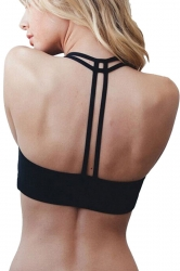 Womens Plain Double-string Sports Bra Black
