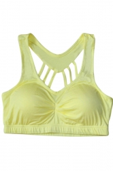 Womens Plain Round Neck Bandage Sports Bra Yellow