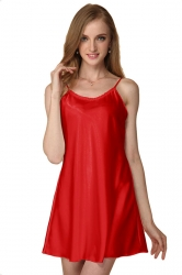 Womens Sexy Plain Spaghetti Straps Nightshirt Red